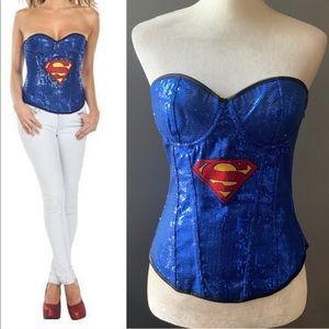 🔥RUBIES blue sequin supergirl corset costume